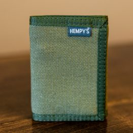 Hemp Tri-Fold Wallet Green with Green Trim
